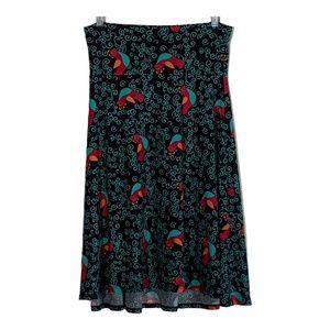 LuLaRoe skirt A-line stretch bird novelty print